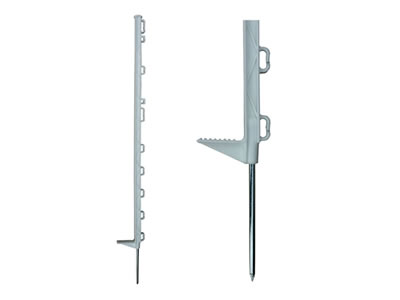 White and tall electric fence post with single footplate.