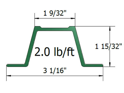 2.0 lb/ft U-channel post drawing and specification.