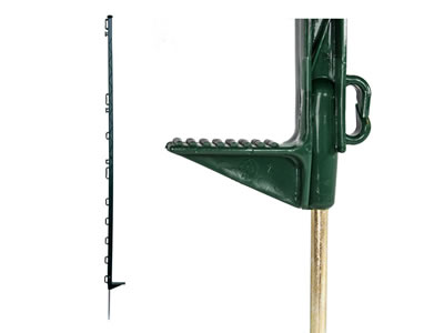 Green electric fence post with ribbed I-beam.
